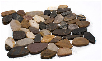 "Rainforest Sliced High-Polish Pebble Stone Tile 12""x12"" 5 Pack, Mixed"