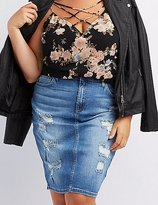 Charlotte Russe Plus Size Cello Destroyed Denim Pencil Skirt