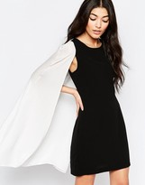 Liquorish Monochrom Shift Dress With Cape