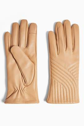 Topshop Sand Leather Touchscreen Gloves