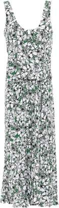 Cédric Charlier Draped Floral-print Woven Midi Dress
