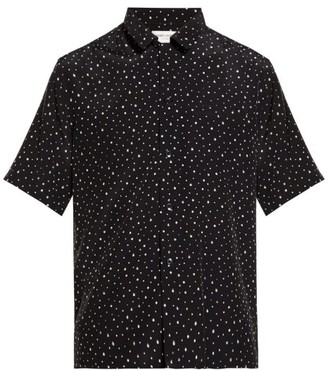 Saint Laurent Polka-dot Print Crepe Shirt - Mens - Black White