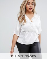 Club L Plus Wrap Top With Ruffles