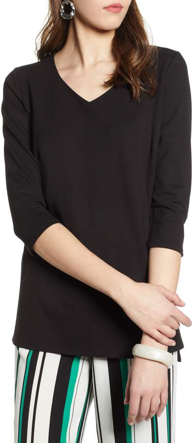 Halogen V-Neck Ponte Knit Tunic