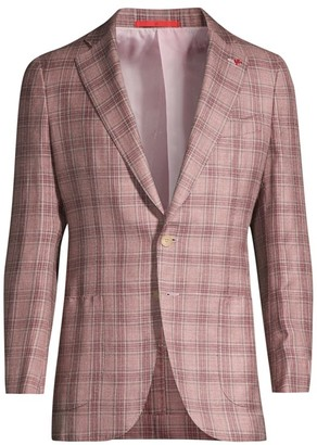 Isaia Plaid Wool, Silk & Linen Jacket