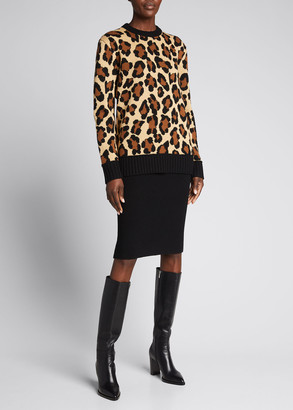 Michael Kors Collection Leopard-Pattern Cashmere Sweater