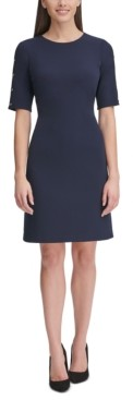 Tommy Hilfiger Petite Button-Sleeve A-Line Scuba Dress
