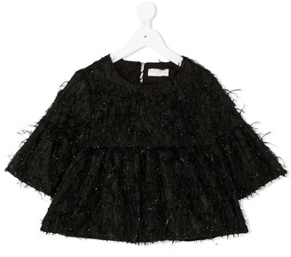 MonnaLisa Feathered Tinsel Blouse