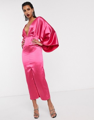 Asos Edition EDITION kimono sleeve dress midi in satin-Pink