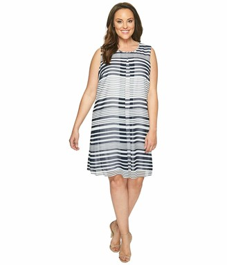 Calvin Klein Women's Plus Size Printed Inverted Pleat Dress