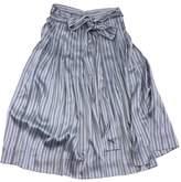 Jill Stuart Chloe Blue Striped Silk Midi Skirt