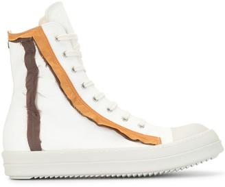 Rick Owens High Top Contrast Trim Sneakers