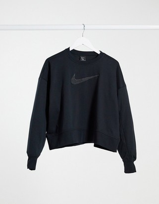 Nike Training crew neck sweatshirt with swoosh logo in black