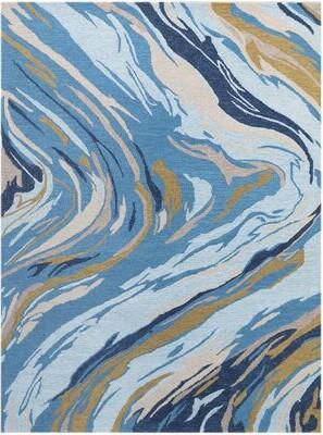 "Ebern Designs Konkol Hand-Tufted Wool Azure Blue Area Rug Rug Size: Rectangle 7'6"" x 9'6"""