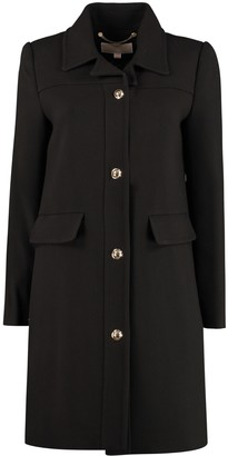 MICHAEL Michael Kors Gold Buttons Crepe Coat