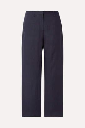 Mansur Gavriel Cropped Linen Straight-leg Pants - Midnight blue