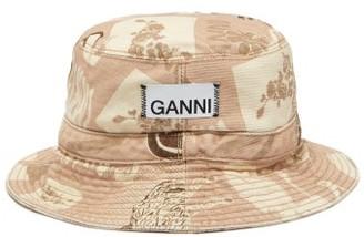 Ganni Logo-print Denim Bucket Hat - Womens - Beige