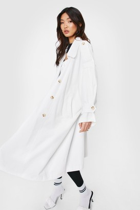 Nasty Gal Womens Don't Sugar Coat It Belted Trench Coat - White