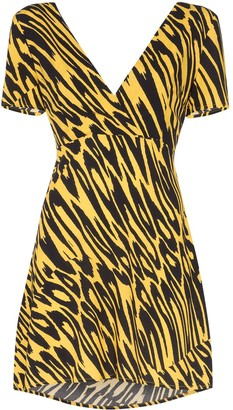 Double Rainbouu tiger print tie-back mini dress