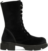 Chiara Biasi 50MM LACE-UP VELVET ANKLE BOOTS