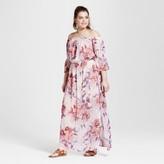 Lily Star Women's Plus Size Cold Shoulder Flutter Sleeve Dress Pink