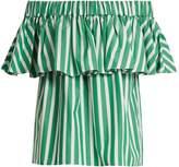 Maison Rabih Kayrouz Off-the-shoulder striped-ruffled top