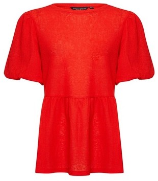 Dorothy Perkins Womens Orange Puff Sleeve Peplum Hem Blouse, Orange