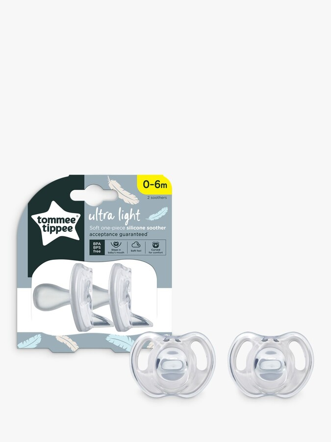 Thumbnail for your product : Tommee Tippee Ultra Light Silicone Soothers, 0-6 months, Pack of 2