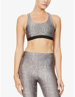 Koral Tax snake-print stretch-jersey sports bra