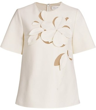 Oscar de la Renta Floral Embroidered Crewneck Short Sleeve Top