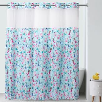 Hookless Mermaids Print Shower Curtain & PEVA Liner
