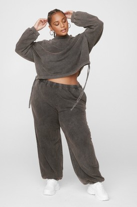Nasty Gal Womens Hey Wash Out Cropped Sweatshirt and Jogger Set - Grey - 24