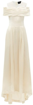 Simone Rocha Off-the-shoulder Silk-satin Gown - Cream