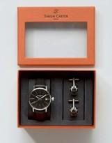 Simon Carter Leather Watch & Robot Cufflinks Gift Set