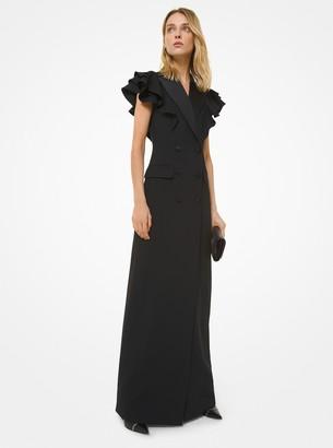 Michael Kors Double Crepe Sable Ruffle-Shoulder Tuxedo Gown