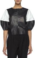 Alice + Olivia Two-Tone Leather Jacket