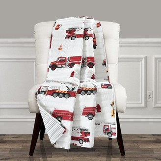 Make A Wish Fire Truck Throw Red/White Single 50X60