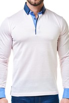 Maceoo Dot Print Long Sleeve Polo Shirt
