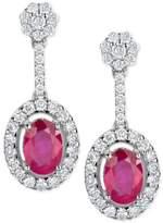 Macy's Certified Ruby (1-1/5 ct. t.w.) & Diamond (1/2 ct. t.w.) Drop Earrings in 14k White Gold