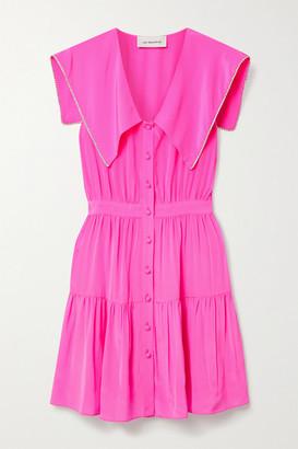 Les Rêveries Tiered Crystal-embellished Neon Silk Crepe De Chine Mini Dress - Pink