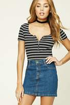Forever 21 FOREVER 21+ Ribbed Knit Striped Top