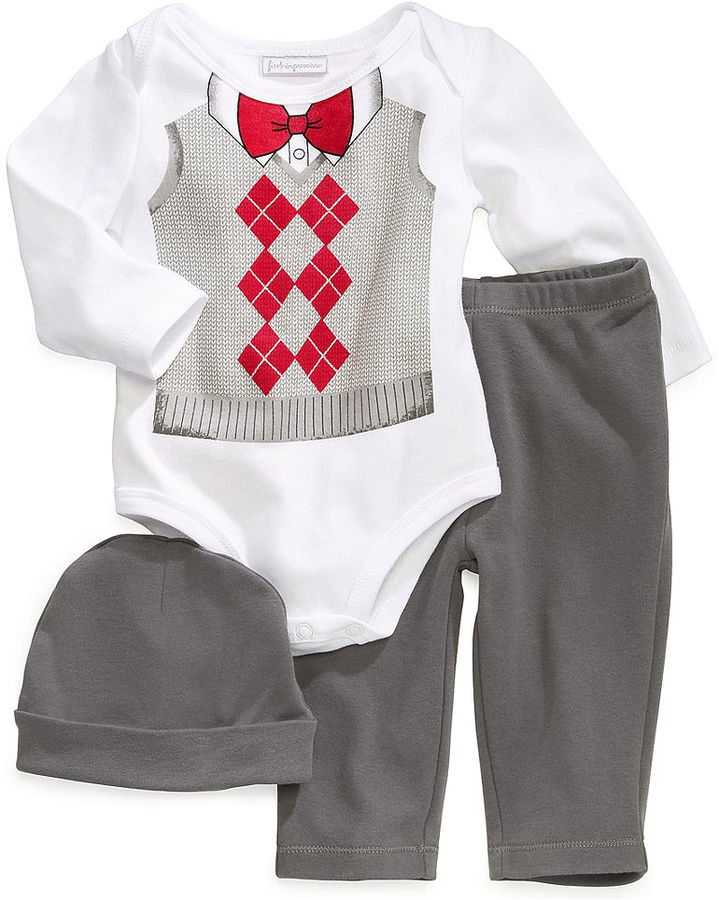 First Impressions Baby Set, Baby Boys Argyle 3-Piece Hat, Bodysuit and Pants