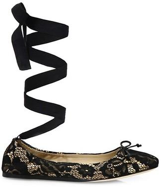 Saks Fifth Avenue Lace Ankle-Wrap Ballet Flats