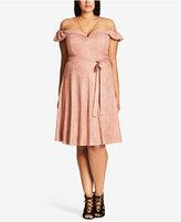 City Chic Trendy Plus Size Faux-Suede Dress