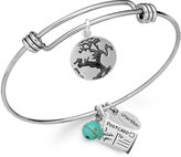 Unwritten Earth Charm and Manufactured Turquoise (8mm) Bangle Bracelet in Stainless Steel