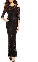 Marina Cold-Shoulder Sequined Lace Gown