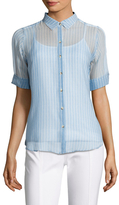 MiH Jeans Silk Stripe Short Sleeve Shirt