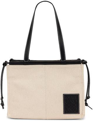 Loewe Cushion Tote Small Bag in Light Oat & Black | FWRD