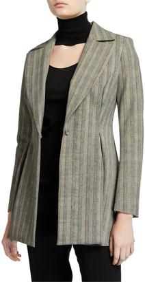 Chiara Boni Michelle Striped One-Button Fit-&-Flare Jacket