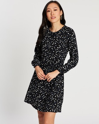 Dorothy Perkins Print Long Sleeve Fit-and-Flare Dress